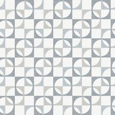 Papel Pintado Rasch De Lujo Retro Geométrico Cuadros Patrón En Gris 277128