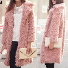 Womens Shaggy Warm Parka Coat Faux Fur Long Jacket Outwear Cardigan Overcoat Top