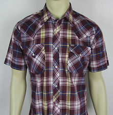 Ely Cattleman Western Pearl snap shirt short sleeve Plaid Mens Size 15.5 Fits M