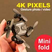 mini Drone Selfie WIFI FPV Dual HD 4K Camera Foldable Arm RC Quadcopter Toy US