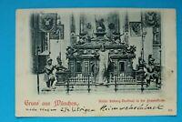 Bayern AK Gruss aus München 1899 OBB Kaiser Ludwig Denkmal Frauenkirche Kunst (1