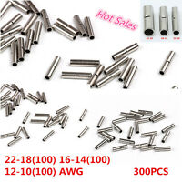 300pcs Uninsulated Car Wire Butt Connectors 22-18 16-14 12-10 AWG Gauge Terminal
