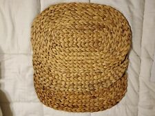 3 Rattan Placemats Oval Wicker Woven Beach House 19 x 13 Boho Table Set Straw