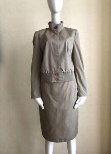 AKRIS Punto Beige Cotton Bomber Skirt Suit Size 8 US