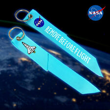 Blue NASA Remove Before Flight Fabric Key Chain Luggage Aviation Tag Keyring 1pc