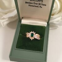 Vintage Jewellery Gold Ring Emerald White Sapphires Antique Deco Jewelry size 9
