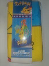 "Pokemon Fabric Shower Curtain 72"" x 72"" Pikachu Charmander Squirtle Bulbasaur"