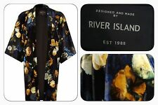 BNWT River Island Black Floral Velvet Evening Occasion Kimono Jacket Size 10/12