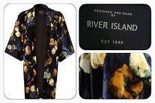 BNWT River Island Black Floral Velvet Evening Occasion Kimono Jacket Size 10/12