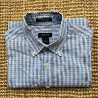 Mens Gant Short Sleeve Shirt Newport Poplin White Blue Check Medium M 21.5 Chest