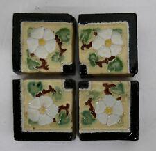 California Tile Vintage Malibu Floral Corners Set of 4/Yellow