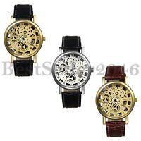 Fashion Mens Skeleton Hollow Dial Leather Band Sports Analog Quartz Wrist Watch