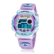 Ohsen Children Boys Girls Light Alarm Date Digital Quartz Sport Wrist Watch Gift Purple