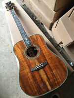 Factory Abalone inlay 41 inch Koa wood acoustic Guitar with Ebony fingerboard