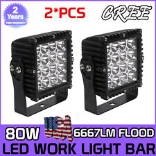 2x 5inch 80W CREE LED Work Light Bar Cube Pods Square Flood Lamp Offroad Truck