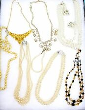 9 PC VTG Jewelry Sarah Coventry Costume Pearls  Dealer Estate Plus Case