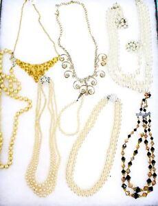 9 PC VTG Jewelry Sarah Coventry Costume Pearls  Dealer Estate Plus Case