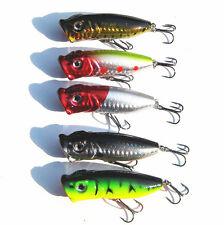 5PCS Lot Popper Minnow Freshwater Fishing Lures Bass Bait Crankbait Tackle 7CM*