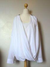 Alba Moda Long Sleeve Layered Drape Zip Detail Top Shirt Size 22 Uk BNWT White