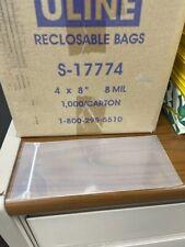 "1000 qty 4""x8"" Reclosable Clear Plastic Poly Zipper Bags Super Heavy Duty 8 Mil"