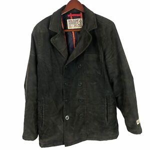 Volcom Workwear Corduroy Peacoat Jacket Double Breasted Green So Medium Men