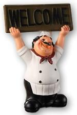 "Fat Italian Chef Holding Welcome Plaque Sign, Figurine, 8"" Tall, Kitchen Gift"