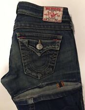 TRUE RELIGION Joey Distressed Twisted Seam Flare Flap Pocket Jeans Size 26 X 30
