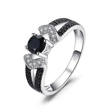 JewelryPalace Elegant 0.8ct Genuine Black Spinel Statement Ring 925 Silver