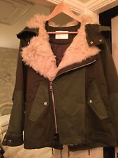 ZARA Khaki Green Coat Jacket Parka With Cream Faux Fur Lining Size XS Brand New