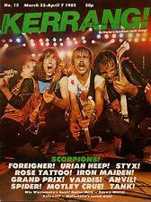 Scorpions on Kerrang Magazine Cover 1982 No: 12    Uriah Heep    Rose Tattoo
