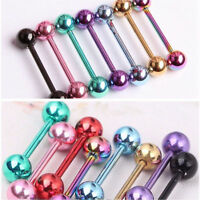 7Pc Mixed Color Surgical Steel Barbell Bar Tongue Ring Stud Piercing Pin Jewelry