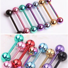 Lot 7pcs 14G Surgical Steel Barbell Bar Tongue Ring Stud Piercing Pin 7 Colors