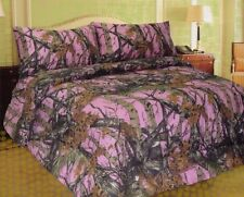 Pink Camoflauge King Size Sheet Set,1 Fitted Sheet, 1 Flat Sheet, 2 Pillow Cases