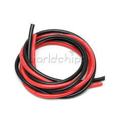 10AWG Gauge Wire Flexible Copper Stranded Cables Black Red For RC