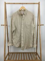 Brooks Brothers Men's Irish Linen Tan Button Down Long Sleeve Polo Shirt Size L
