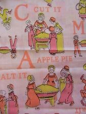 "VINTAGE LADIES ALPHABET OOP poly-COTTON sew fabric 1-1/2 YDS PLUS x 44-1/2"" wide"