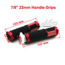 7/8'' 22mm Red Twist Handle Grips ATV Quad Dirt Pit Bike Push Motorized Bicycle