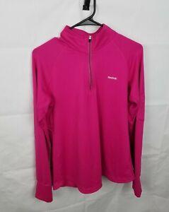 Reebok Pullover 1/4 Zip Up Long Sleeve Athletic Pink Active Zip Pocket Womens L