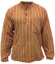 Mens Stripe Light Cotton Festival Full Sleeved Hippie Collarless Grandad Shirt