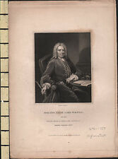 C1840 antica stampa ~ Horatio Walpole primo Lord