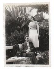 PHOTO ANCIENNE Pochette en cuir Appareil Photographié Caméra Étui Couple 1932