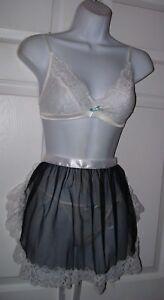 Women's XS Sexy Maid Bra & Thong Pantie Apron Set White Sheer Lace 3 Pieces