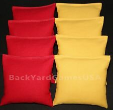 CORNHOLE BEAN BAGS Red & Gold 8 All Weather Resin Filled