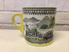 Vintage English for PV Large Ceramic Transferware Mug Railway Railroad Cars