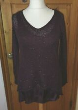 Phase Eight layered burgundy sequins jumper Size uk 10
