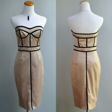 Jill Stuart Vestido Ajustado Negro Grafico Nude Elástico Satén sin Tirantes 6