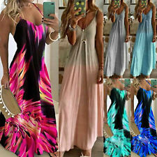 Lady Boho Print Strap Sleeveless Long Maxi Dress Casual Beach Sundress Plus Size