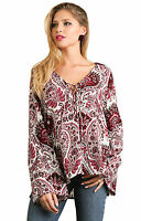 UMGEE Womens Floral Bohemian Flowy Boho Long Bell Sleeve Chic Top Blouse S M L