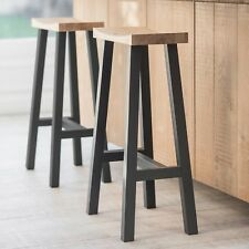 Contemporary Grey Kitchen Dining Solid Carved Oak Wood Breakfast Bar Seat Stool