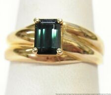 Brand New 14k Gold Indicolite Tourmaline Ring Ladies Emerald Cut Solitaire Sz 9